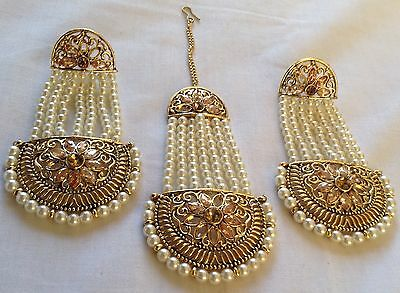 New Indian Gold Silver Stone Pearl Earnings And Tikka Set Wedding Pearl Design