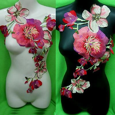 Rose Flower Motif Collar Sew on Patch Bird Applique Badge Embroidered Bust Dress