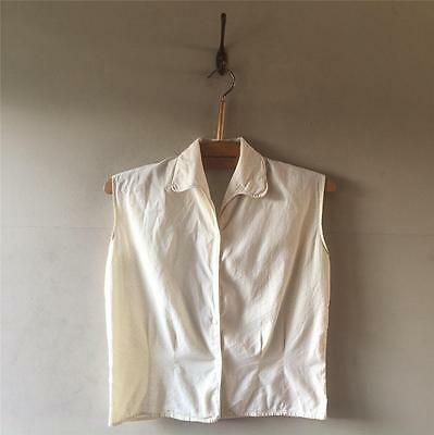 True Vintage 1940s/50s Cream White Cotton Polka Dot Fitted Blouse Shirt Top UK8
