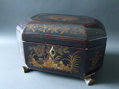 Antique ornate black lacquered Chinese tea caddy with pewter liners