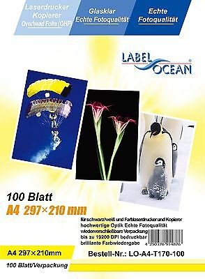 100 sheets Quality OHP LASER Printable A4 CLEAR ACETATE Transparent colour & B&W