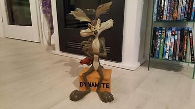 Extremely Rare! Looney Tunes Big Wile E Coyote on Dynamite Crate Figurine Statue