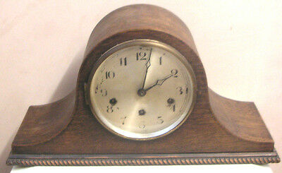 "German Oak Napoleon Case Westminster Chimes Mantle Clock 9""H 17""W 6""D"