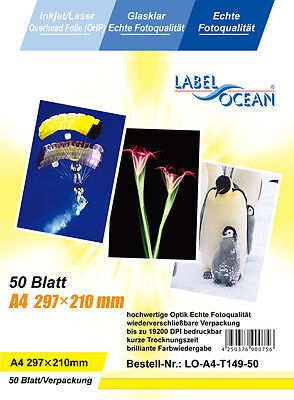 50 sheets Quality OHP  INKJET or LASER Colour A4 CLEAR ACETATE Transparent