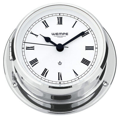 Wempe Yacht Ship Clock Skiff Chrome Plated Brass Ø 110mm - Roman Numerals