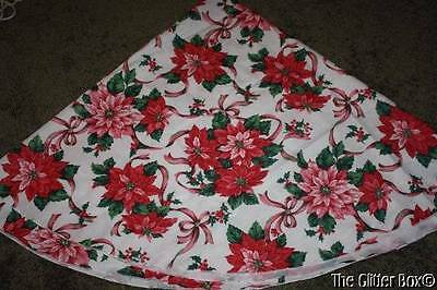 "Shabby Cottage Chic Christmas Tablecloth Round 72"" Pink Poinsettias Table Linens"