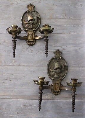 Pair of Vintage Cast Bronze Spanish Revival VIKING SHIP Norse WALL SCONCES