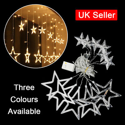 LED Star Curtains String Fairy Light Window Decor Lamp for Christmas Xmas Party