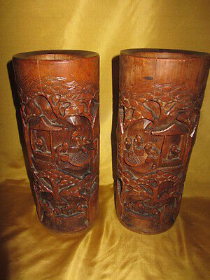 Antique Chinese Large Bamboo Carved Pictorial Brush Pot Pair