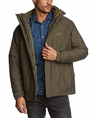 Jack Wolfskin, Giacca Iceland 3 in 1 Uomo, Marrone (Olive Brown), S
