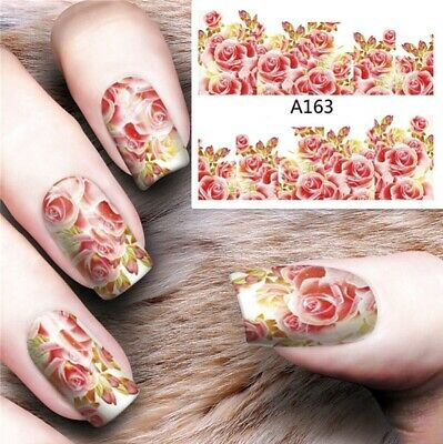 Nail Art Decals Transfers Stickers Pink Roses (A-163)