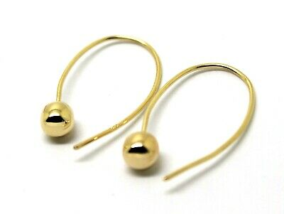 Genuine New Large Hooks 9Ct Yellow Gold 6Mm Euro Ball Drop Earrings