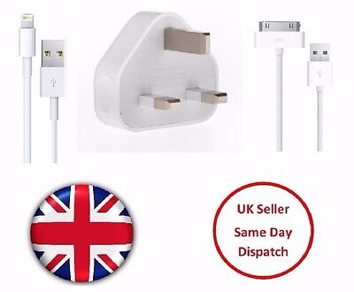 Mains Charger USB Wall Plug / Data Sync Cable For Apple iPhone 6 7 5 4S  iPad UK