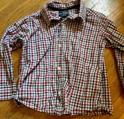 Children's Place Boys 3T Button Down Long Sleeve Plaid Red Black White Shirt