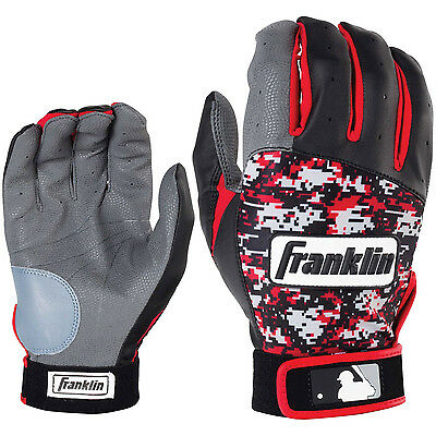 Franklin Digitek Adult Baseball/Softball Batting Gloves - Black/Red - Medium