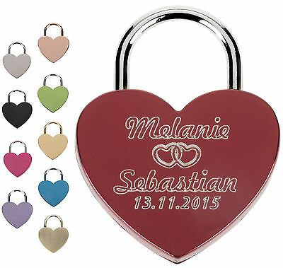 Heart Love Lock Engraved with desired engraving custom text Padlock Engraving