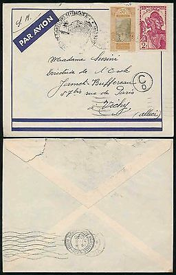 FRENCH GUINEA 1940 MILITARY TIRAILLEURS SENEGALAIS + C0 CENSOR AIRMAIL to VICHY