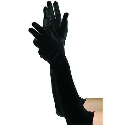 DELUXE Elbow Long Black Velvet Gloves Costume Flapper Burlesque Opera Fancy