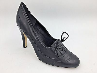 e2638369b9b5 Enzo Angiolini Black Gen Leather Abreu Lace Up Wingtip Pumps Heels size 8M  A8