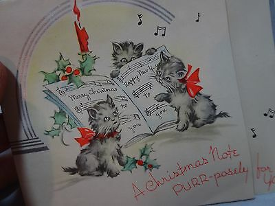 Vintage 1920s ART DECO Kitty Cats MERRY CHRISTMAS CARD On Checked PAPER Unused