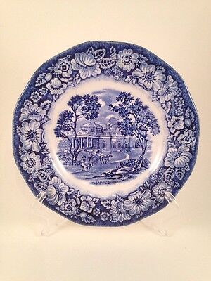 Liberty Blue Colonial Scenic Plate Staffordshire 6""