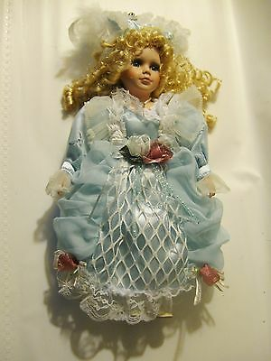 Beautiful Bisque Porcelain Collectible Doll - Romantic Long Blonde Curly Hair