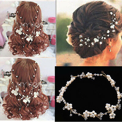 Bridal Wedding Flower Pearl Crystal Hair Comb Headband Accessories Headpiece Hot