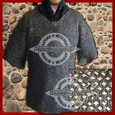 Round Riveted with Flat Washer Chainmail Shirt Chain Mail Haubergeon L Size