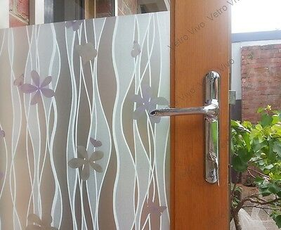 90 CM x 3 M - Frangipani Removable Frosted Window Glass Film for privacy