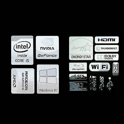 (combo II) Haswell Intel Core i5 Logo Metal Decal Sticker Energy star Windows10