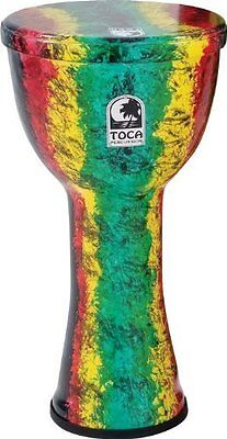 """Toca To809268 Sfdl-10Rb Djembe Freestyle Ligthweights 10"""" Rasta Finish, Synth.He"""
