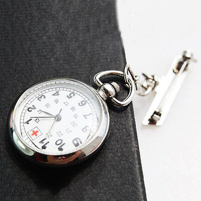 Large Face Nurses Pocket Fob Watch on a Bar with a Brooch Back Silver Color FO