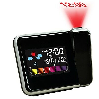 Digital Weather LCD Projection Snooze Alarm Clock with Colorful LED Backlight FG