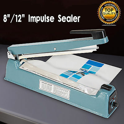"8""/12"" Heat Sealing Hand Impulse Poly Sealer Plastic Closer Machine Teflon NEW T"