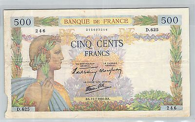 FRANCE 500 FRANCS LA PAIX 11.7.1940 D.625 N° 015603246 PICK 95q