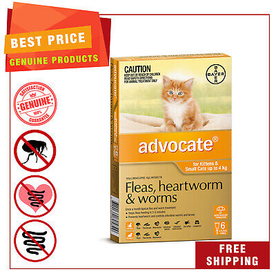 ADVOCATE ORANGE for Cats Upto 4 Kg 6 Pipettes Heartworm Flea Worm treatment
