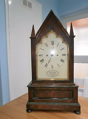 James Dow London Double Fusee Flame Mahogany Regency Bracket Clock