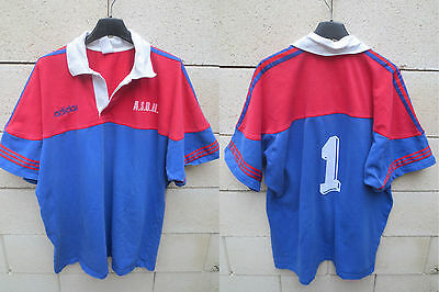 VINTAGE Maillot rugby porté n°1 A.S.B.H BEZIERS ancien ADIDAS match wonr shirt