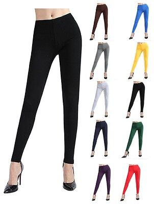 Womens Classic Plain Warm Full Length Cotton Leggings UK Size 8-28