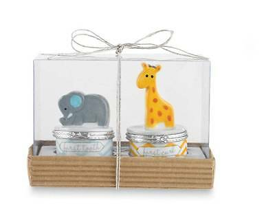 Mud Pie Safari Elephant & Giraffe First Tooth and Curl Set - DISCONTINUED