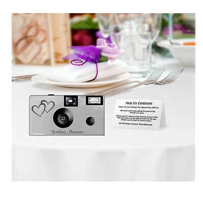 20 Silver Foil Double Hearts Disposable Cameras-PERSONALIZE-wedding/anniversary