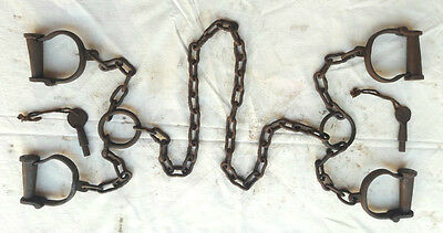 Old Vintage Antique Strong Heavy Iron Long chain Rare Lock Handcuffs Collectible