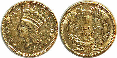 United States 1 Dollar 1868 Or Gold Km#86