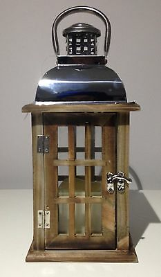 32 Cm Rustic Wooden Chrome Lantern With Flameless Candle Garden Hanging Lantern