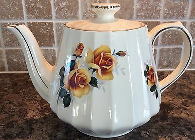 Vintage James Sadler England Teapot Yellow Roses W/ Gold Trim Signed FREE S/H