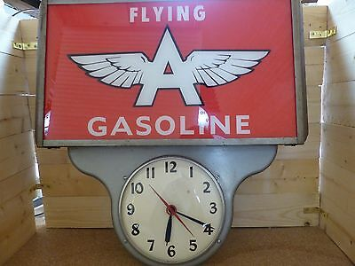 """One Of A Kind"" 1950's Flying ""A"" Gasoline Lighted Advertising Clock Sign Pam"