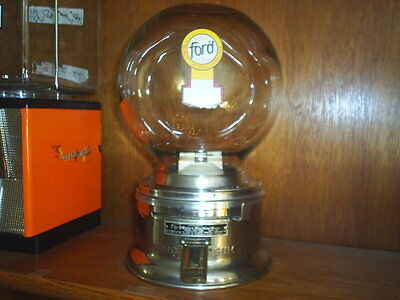 Original OLD FORD glass GUMBALL MACHINE Clear door FREE Ford GUMBALLS 1960's