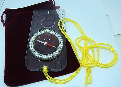 Orienteering Hiking  Plate Compass Military Type Oil Filled Mls & Degrees  +Bag