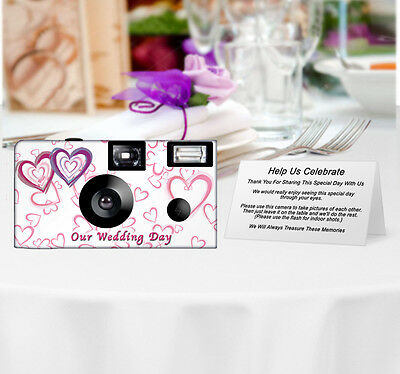 20 Wedding Hearts Disposable Cameras-PERSONALIZE-wedding camera/anniversary