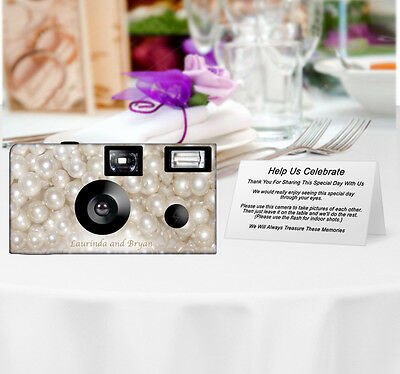 20 Pearls Disposable Cameras-PERSONALIZE-wedding camera/anniversary
